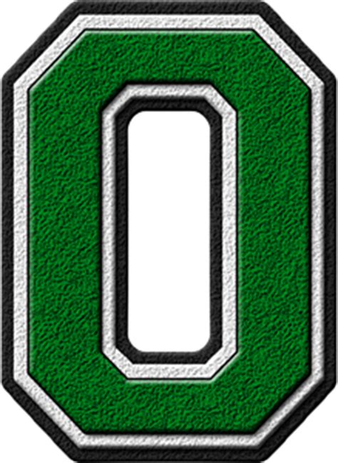 Technology Home Presentation Alphabets Green Varsity Letter O