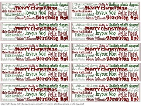hollyshome family life merry christmas   world  printout gift bag gift tags