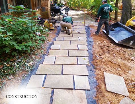 staggered flagstone walkway landscape design buld