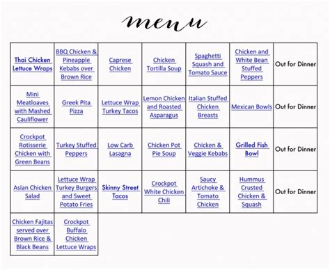 printable grocery list menu healthy menu grocery list 187 jenny collier blog