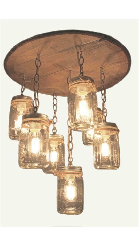 Barrel Light Fixtures Whiskey Barrel Top With Jars Light Fixture For The Home Pinterest