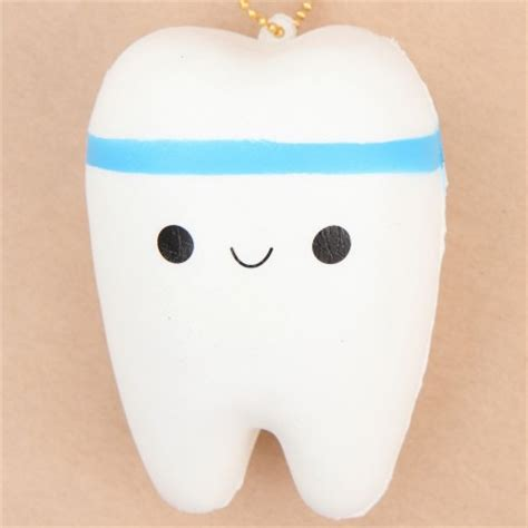 Tooth Squishy faulty white tooth with blue stripe squishy