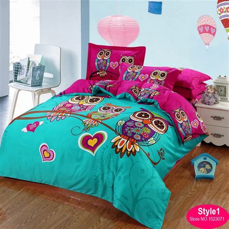 100 cotton adult kids owl bedding set red rose 3d bedding
