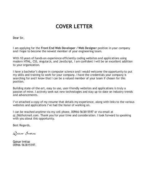 Front End Developer Cover Letter by Front End Developer