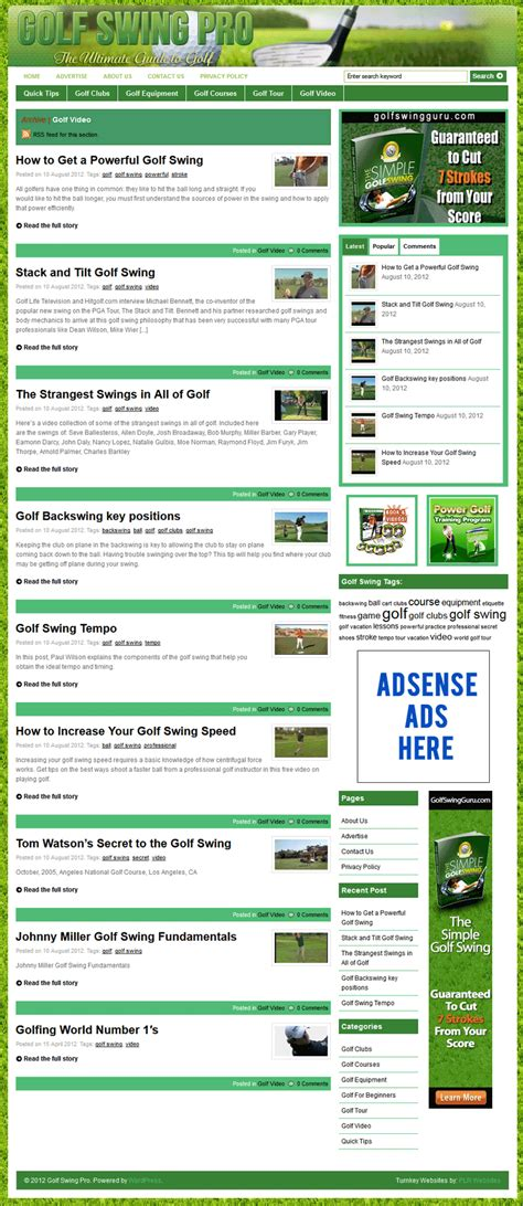 swing websites golf swing pro plr website with private label rights