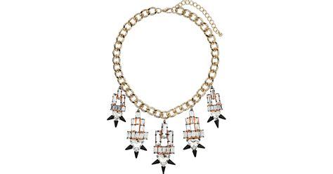 Shorouk Spike Earring Premium Topshop Premium Spike Collar In Metallic Lyst