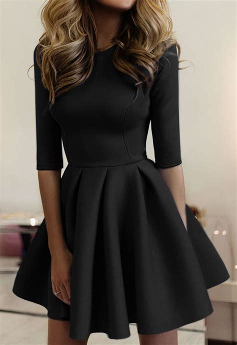 simple yet stylish this black dress features with half