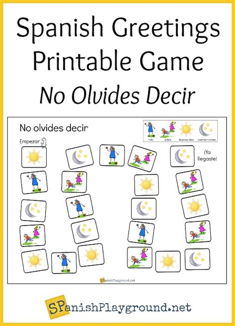 printable spanish board games spanish greetings game printable board spanish playground