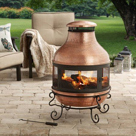 better homes and gardens 39 quot copper hammered chiminea