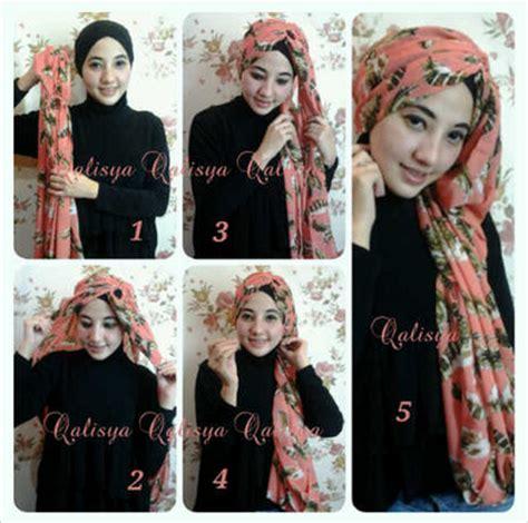tutorial pashmina monokrom cara memakai jilbab segi empat modern