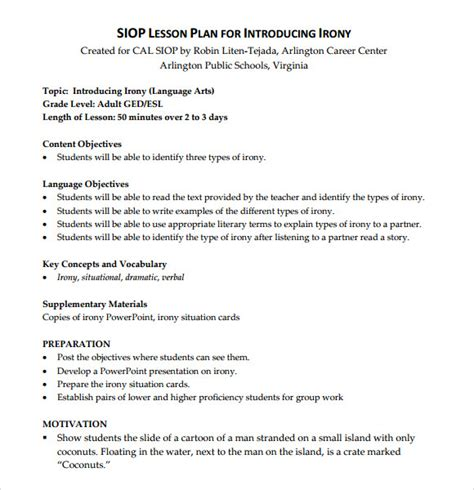 world language lesson plan template sle siop lesson plan templates 10 free exles