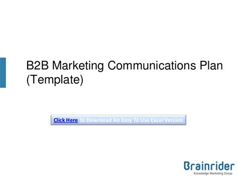 marketing communication plan template exle b2b marketing communications plan template v3 2013