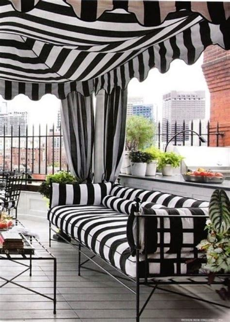 black and white striped outdoor curtains black and white patio decor backyard pinterest
