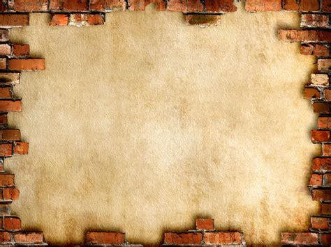 Brick Wall Framed Background Powerpoint Themes Wall Powerpoint Template