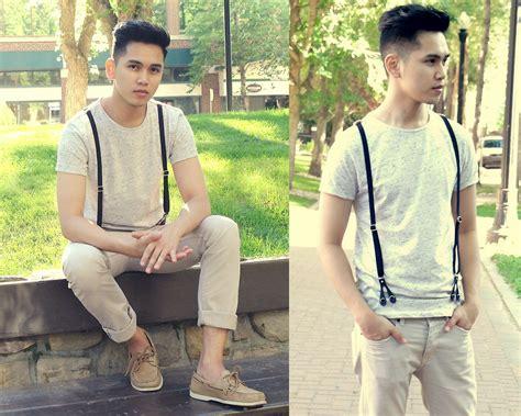 khaki pants and boat shoes ranniel ingles zara shirt with suspenders h m khaki