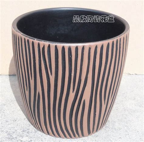 Black Ceramic Flower Pots Ceramic Flower Pot Brush Black Coffee The Two Pattern No