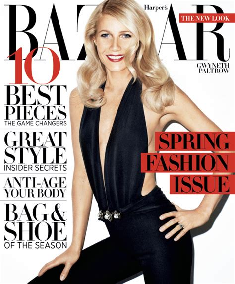 Gets All Fashionista In Marchs Harpers Bazaar by Gwyneth Paltrow S S Bazaar Cover Jonathan Saunders