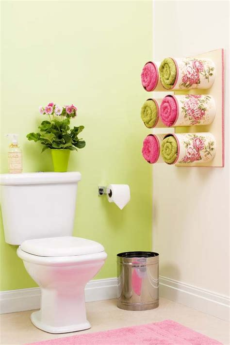 bathroom organizing ideas bathroom organizing ideas towel storage made of decoupaged tin cans