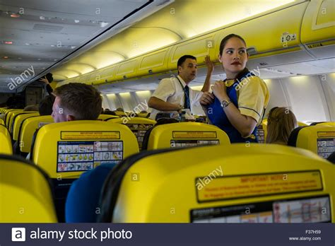 cabin crew ryanair passengers and cabin crew on a ryanair airbus a380 flight