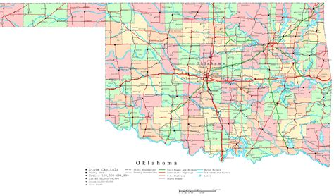 roadmap of oklahoma oklahoma printable map