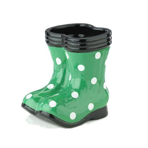 Boot Planters by Botanico Wellington Boot Planter Green Polka Dots Wellies