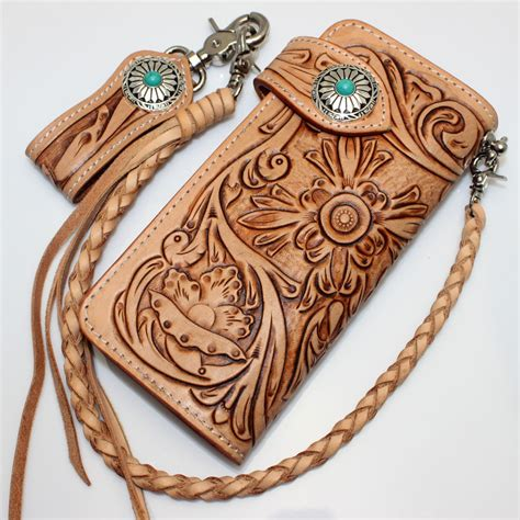 Handmade Leather Wallet Pattern - buy fashion clothing genuine tanned leather flowers