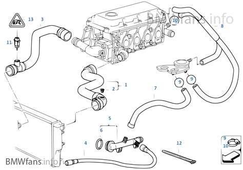 bmw e46 cooling system diagram cooling system water hoses bmw 3 e46 318i m43 europe