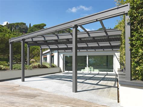 white metal l shade stainless steel pergola conservatory with photovoltaic