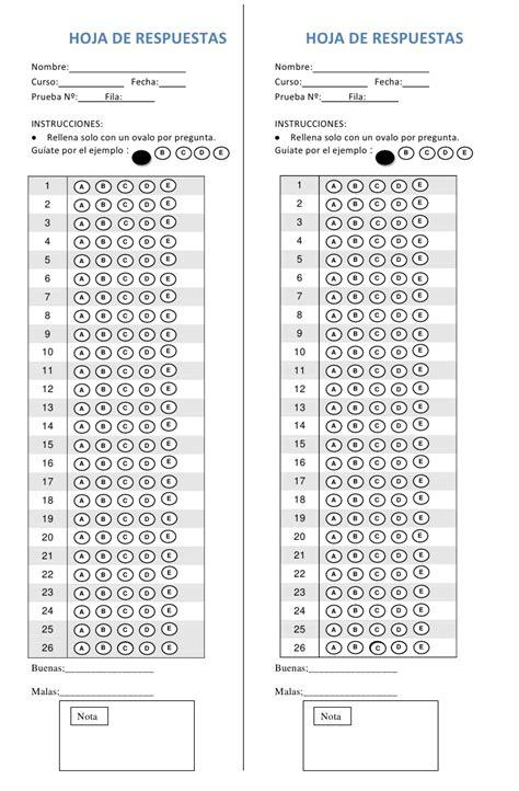 hoja de respuestas de examen de primaria 5 grado 2016 hoja de respuestas d 26p