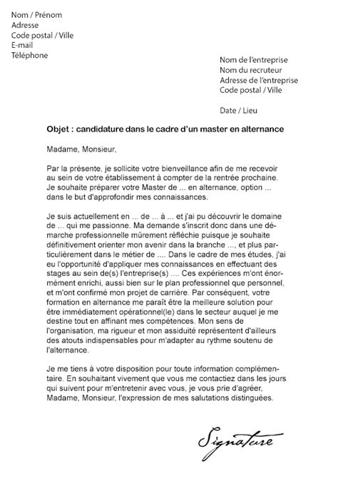 lettre de motivation master alternance mod 232 le de lettre