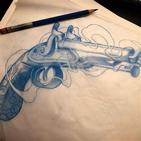 crossed revolver tattoos collection of 25 grey ink crossed flintlock pistol