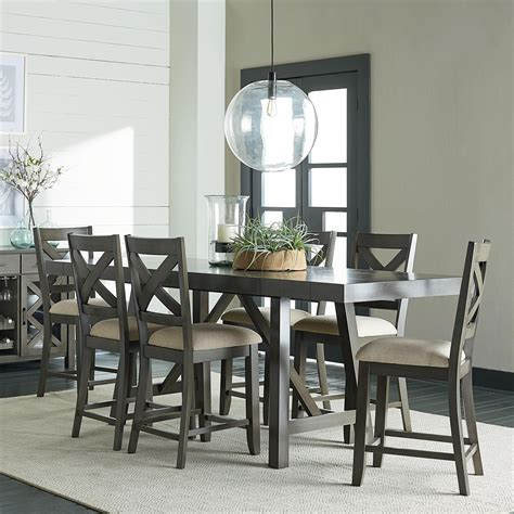 Dining Room Furniture Collection Standard Furniture Omaha Grey Counter Height 7 Dining Room Table Set Olinde S Furniture