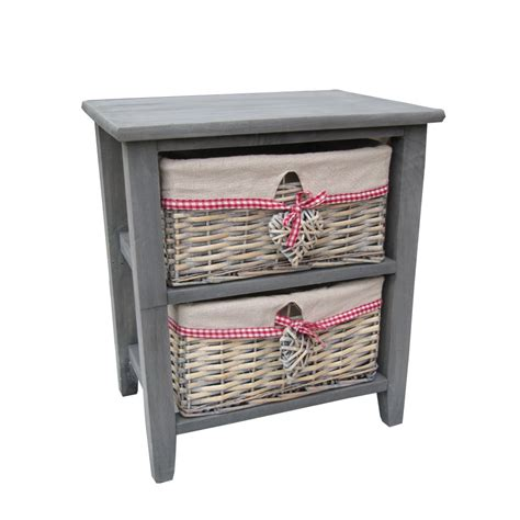 bedside storage buy grey wooden bedside table with 2 grey wash wicker