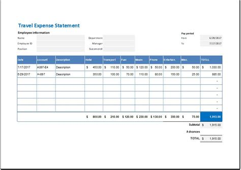 expenses policy template travel expense statement template for ms excel word