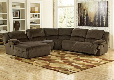 sofa with recliners on each end hornell furniture outlet toletta chocolate left facing