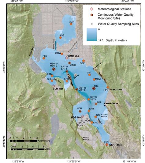 map of klamath oregon usgs klamath lake term water quality monitoring