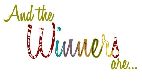 Giveaway Winners - congratulations to our winners