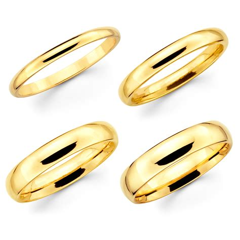 solid 14k yellow gold 2mm 3mm 4mm 5mm comfort fit