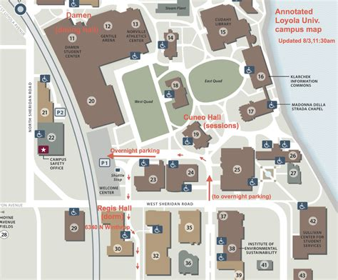 loyola chicago map loyola annotated closeup map