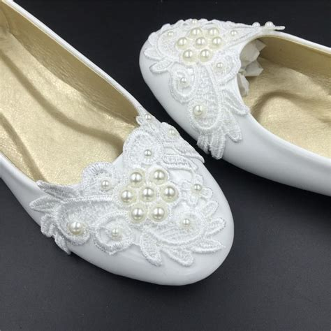 White Lace Flats For Wedding by Ivory White Vintage Lace Wedding Shoes Pearls Bridal
