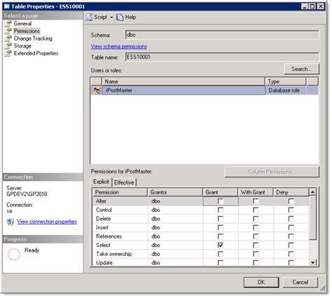 dynamics gp land checking sql permissions on many sql