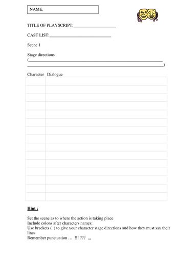 script templates for pages playscript templates by ahorsecalledarchie teaching