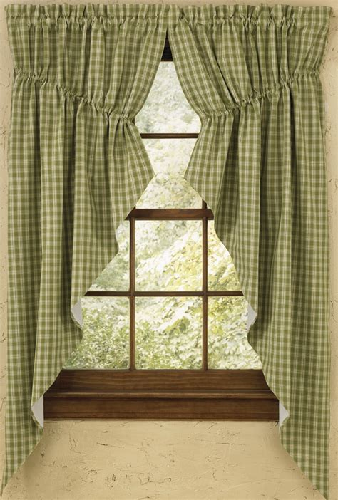gathered swag curtains plaid gathered swag prairie curtain set 36 quot or 63 quot long