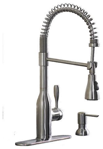 Kitchen Faucets Modern Aquasource Stainless Steel 1 Handle Pull Down Kitchen