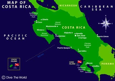 san jose in world map map of costa rica san jose punterenas cocos island
