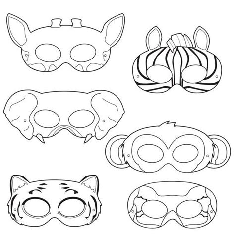 Printable Animal Eye Masks | drawn mask jungle pencil and in color drawn mask jungle