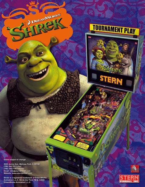 Home Design Game the arcade flyer archive pinball machine flyers shrek