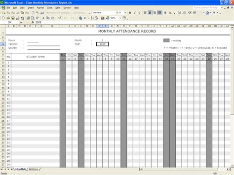 Excel Attendance Template attendance template for students myideasbedroom