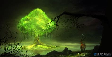 glow in the painting tree glowing tree by gucken on deviantart