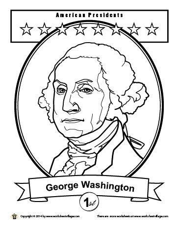 george washington coloring page kinder february